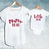 Valentine's Day Special Mama Bear + Little Bear T-shirt White Set of 2, Mama Bear V-Neck T-shirt, Baby Bear T-shirts, Baby shower gift