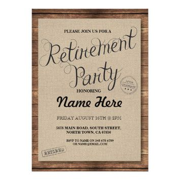 Retirement Party Wood Rustic Retire Invite Vintage