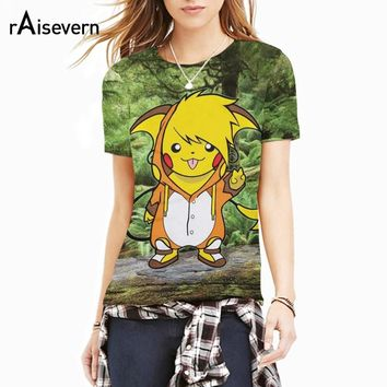 Raisevern Anime Pokemon New Design 3D T Shirt Funny Cartoon Pikachu Tee Short Sleeve Crewneck Tops Shirts Fashion Clothing