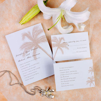 Destination Wedding Invitation Kits - Coconut Palm Wedding Card - Beach Wedding Invitations - Summer Theme EWI056