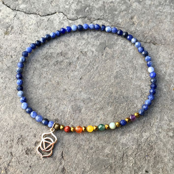 Third Eye Chakra Anklet, Chakra Gemstones and Sodalite Anklet