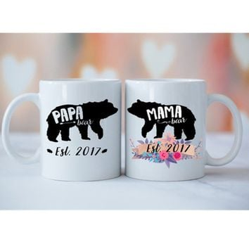 Mama Bear Papa Bear SET OF 2 Mugs, Baby Shower Mug, Gift for Expecting Parents, Baby Announcement, Baby Shower, Mama Bear Papa B