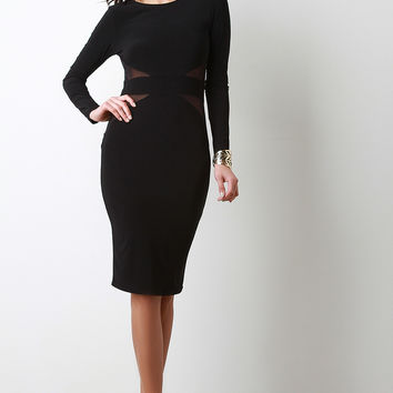 Mesh Panels Long Sleeve Dress