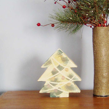 Vintage Christmas vase, Christmas tree ceramic vase, earthenware clay, fir tree shaped vase with painted ribbons and baubles, late eighties