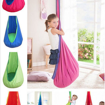 Kid Hammock cocoon Baby Pod Swings Child Hanging Seat Chair Nest Reading Nook Tent Blue Green Cotton Fabric