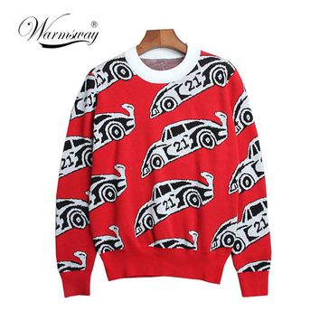 Autumn Fashion Blogger Women's Cotton Jacquard Long Sleeve Vintage Knitted Red Sweater