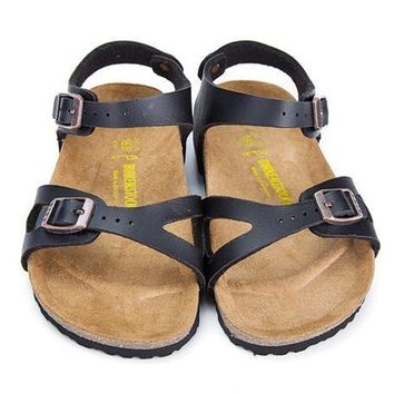 Birkenstock Leather Cork Flats Shoes Boys and girls Casual Sandals Shoes Soft Footbed Slippers-4