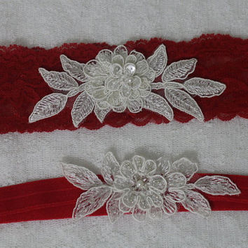 Wedding Garter,Red Lace Bridal Garter,Wedding Accessory,Bridal Lingerie,Wedding Lingerie,Red and İvory Lace Garter