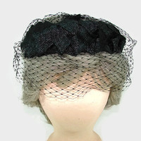Vintage Black Woven Hat Braided Straw Hat with Patterned Netting