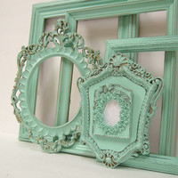 Shabby Chic Frames Pastel Mint Green Picture Frame Set Ornate Frames Wedding Shabby Chic Home Decor