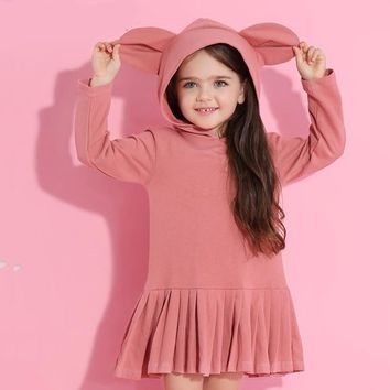 Little Girls Rabbit Ears Hooded Ruched Long Sleeve Dress
