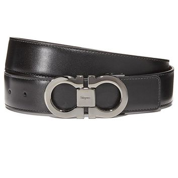 Salvatore Ferragamo Men's Double Gancini Reversible Belt