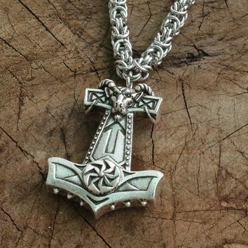 viking goat hammer pendant  Thor Hammer men necklace Goat Totem Amulet with stainless steel chain norse jewelry