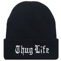 2015 autumn winter THUG LIFE BEANIE hedging letter sweater knitted elastic BBOY hip-hop black hat