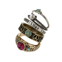 Rhinestone Peace Ring Pack - Purple