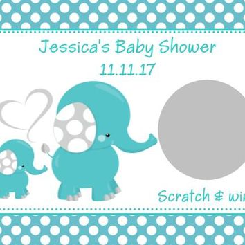 10 Blue Elephant Baby Shower Scratch Off Cards Polka Dot