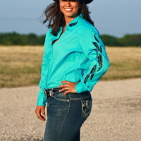 TURQUOISE RODEO SHIRT WITH BLACK FEATHERS