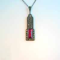 Art Deco Necklace. Marcasite Jewelry. Ruby Spinel Gemstone. Geometric. 830 Silver. Vintage 1920s Wedding Bridal Jewelry