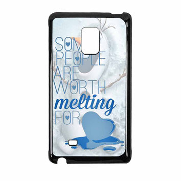 Some People Are Worth Melting For Olaf Funny Quote Samsung Galaxy Note Edge Case