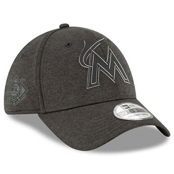 MLB Miami Marlins New Era Black 2018 Clubhouse Collection Classic 39THIRTY Flex Hat