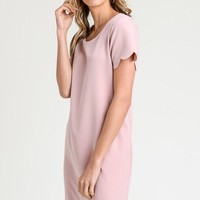 Scalloped Shift Dress - Blush