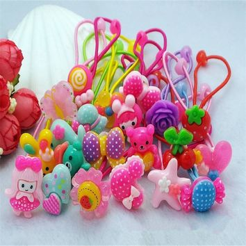 AKWZMLY 2017 New Rushed Hair Bands Cute Headband Bow Love Hair Accessories Flower Headwear Scrunchy Holders Girls Tie Ropes