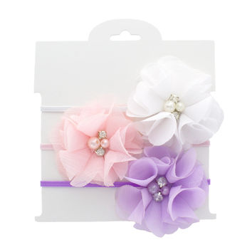 Preemie Baby Chiffon Flower Layette Headbands 3-pack