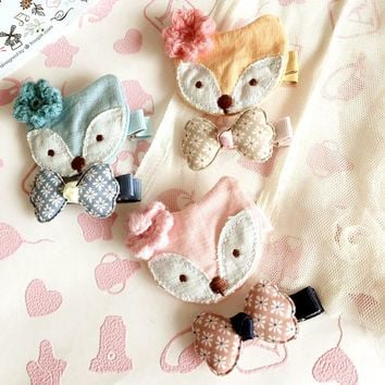 Korea Handmade Cloth Fox Flower crown Animal Hair Accessories Hair Clip Hairpin Hair Bows Headbands for Girls 3