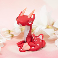 Red Dragon Figure, Valentine's Dragon, Heart Dragon Sculpture, Polymer Clay Dragon Figurine, Small Dragon Sculpture, Dragon Heart, Valentine