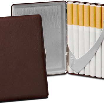 Brizard Coffee Dark Brown Genuine Leather Cigarette Case