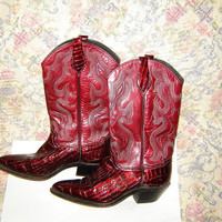 Womens Vintage Red Cowboy Western Leather Boots 6.5
