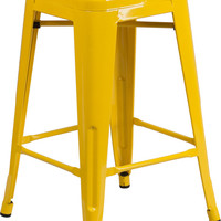 24'' High Backless Yellow Metal Indoor-Outdoor Counter Height Stool with Square Seat