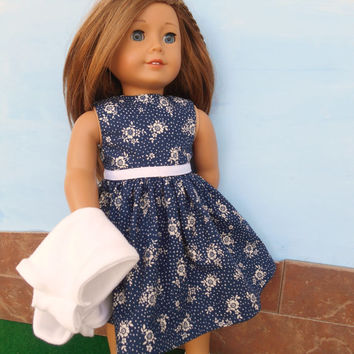 18 Inch Doll Clothes, Doll Dress with Shrug, Floral Doll Dress, Navy Blue and White Floral Doll Dress with White Shrug