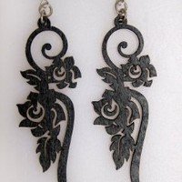 Green Tree Jewelry Wood Satin Long Flower Earrings (Black)