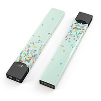 Skin Decal Kit for the Pax JUUL - Colorful Falling Triangles Over Mint