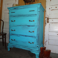 TURQUOISE Shabby Chic Tall Boy Chest of Drawers