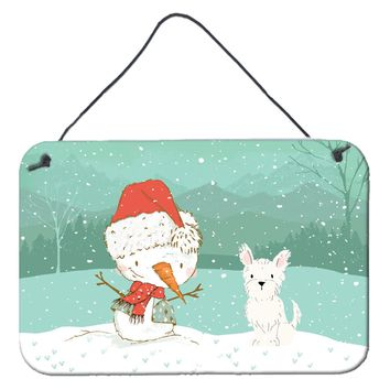 Westie Terrier Snowman Christmas Wall or Door Hanging Prints CK2097DS812