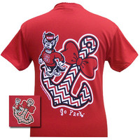 North Carolina NC State Wolfpack Chevron Anchor Bow Girlie Bright T Shirt