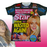 LAST ONE Unisex Lindsay Lohan WASTED Again Full Print Magazine T-Shirt.