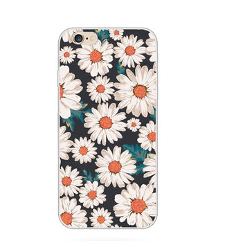 Luxury Transparent Floral Flowers Daisy Sun Flower Collage Painting Elaborate Silicon Phone Case Cover Shell For Apple iPhone 5 5S SE