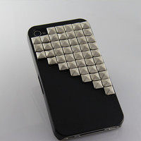 Silver pyramid stud black Hard Case Cover for by BeautyandLuck