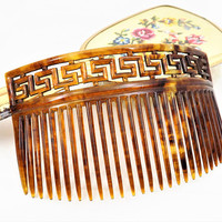 Large Faux Tortoise Shell Hair Comb, Carved Greek Key, Curved, Vintage Hair Accessories