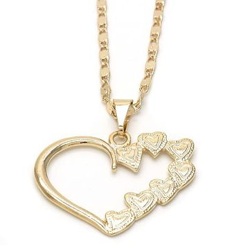 Gold Layered 04.09.0163.18 Fancy Necklace, Heart Design, Polished Finish, Golden Tone