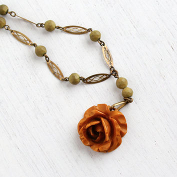 Vintage Carved Bakelite Rose Necklace - Antique Brass Link Chain Green Bead Deeply Carved Charm Necklace / Butterscotch Brown Flower Petals