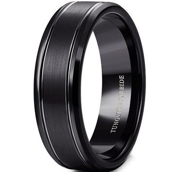 8mm Tungsten Rings Black Wedding Band Engagement Promise