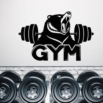Vinyl Wall Decal Gym Logo Fitness Barbell Bear Predator Animal Stickers (2789ig)