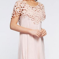 Lace Paneled Tunic Dress - Blush