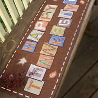 """Manual Woodworkers Thanksgiving Memories 13x36"""" Table Runner with 6-Pack of Tea Candles"""