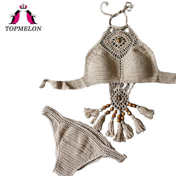 TOPMELON 2017 New Crochet Bikini Swimsuit Women Push Up Tassel Hollow Beachwear Bikini Halter High Neck Sexy Bathingsuit Biquini