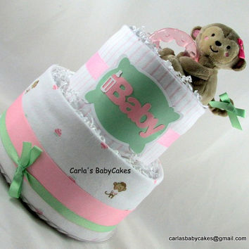 Monkey diaper cake,Girl diaper cake,Baby shower gift,Baby girl gift,New mom gift,Baby shower decoration,New baby gift,Pink diaper cake